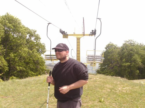 Tony at the top of the chairlift.