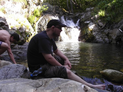 Tony sitting by the Dragus river.