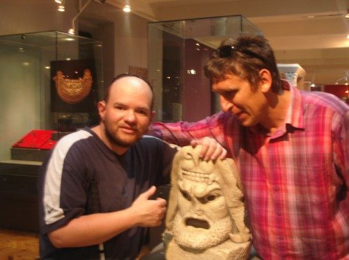 Tony and Pece with the head of a Greek god, Archaeology Museum.