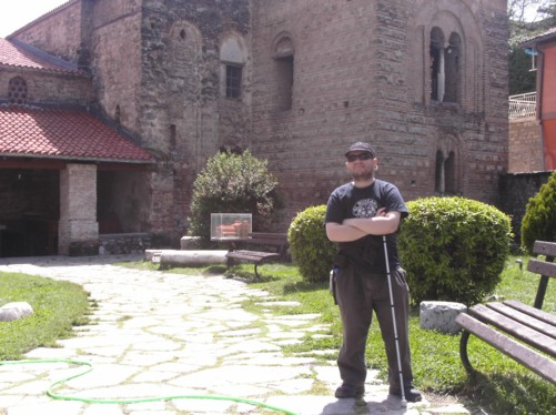 Tony in a park area in front of Saint Sofia Church.