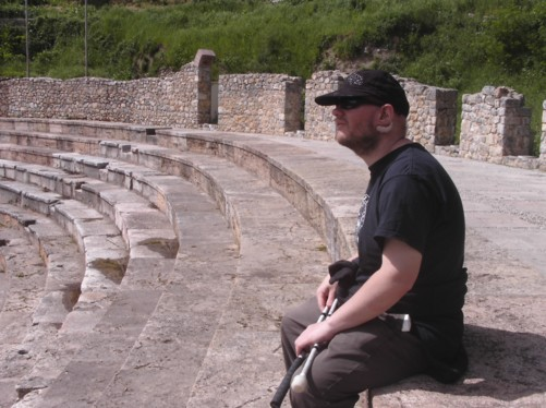 Tony sitting at the top of the theatre.