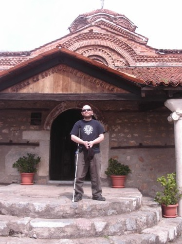 Tony outside St. Bogorodica Perivleptos church.