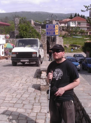 Tony on a road near the city wall's Upper gate. Heading towards King Samoil Fortress.