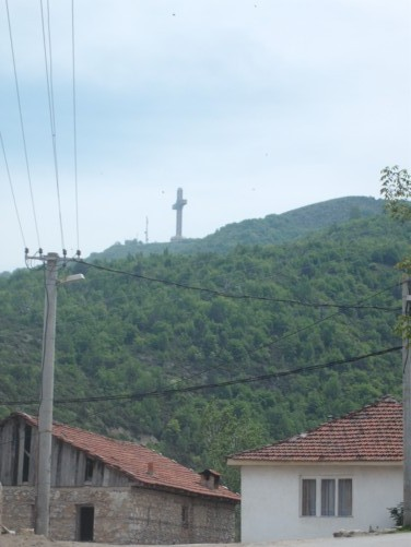 View of the huge 217 ft (66 m) high Millennium Cross on the peak of Mount Vodno.