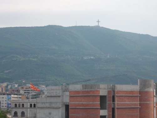 View of Mount Vodno from Skopje's old town.