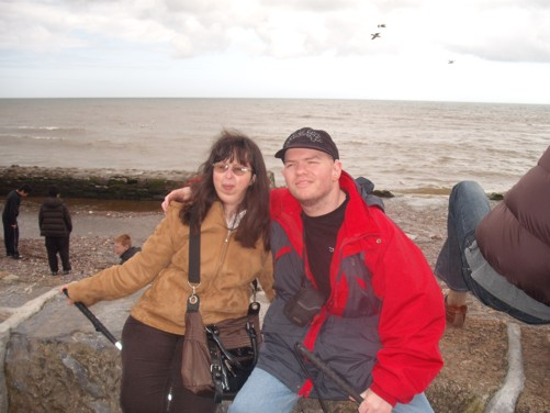 Tony and Tatiana, sea wall, Dawlish.