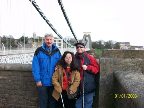 Spud, Tatiana and Tony, Clifton Suspension Bridge, 1st April 2010.