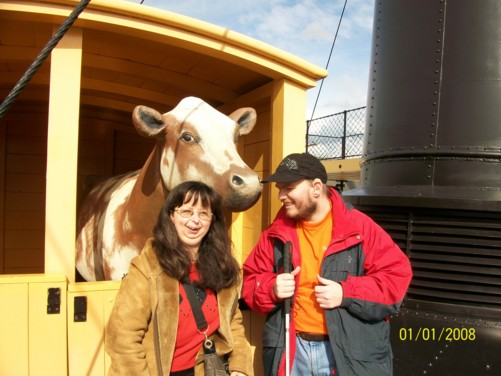 Tony and Tatiana and cow on SS Great Britain, 1st April 2010.