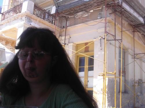 Tatiana at a café-restaurant in Aegina Town.