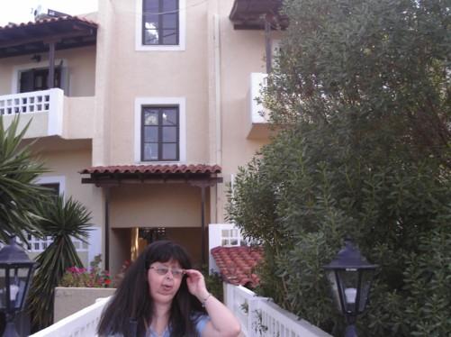 Tatiana outside Hotel Vasilaras.