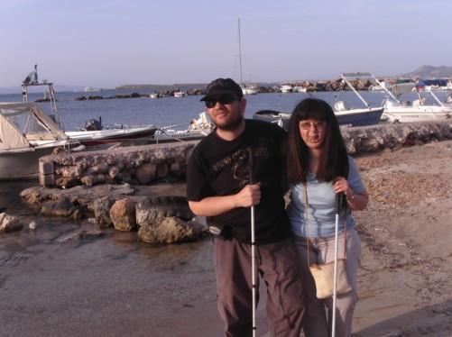 Tony and Tatiana on Skala Beach.