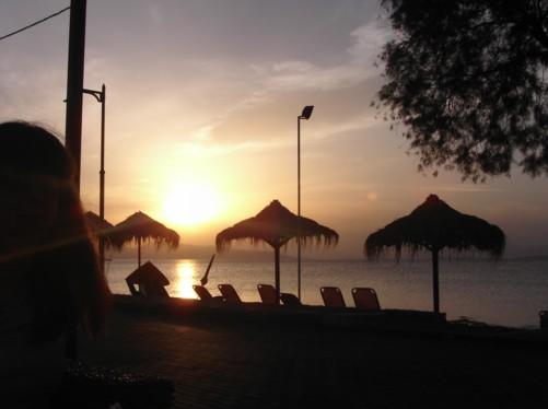 Beautiful sunset, Skala beach.