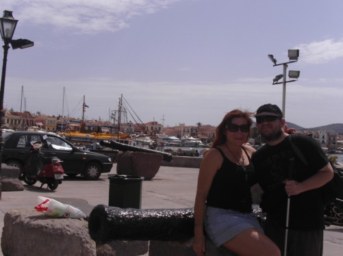 Elena and Tony by small cannon. Elena is from Ukraine, now a resident of Agistri Island.