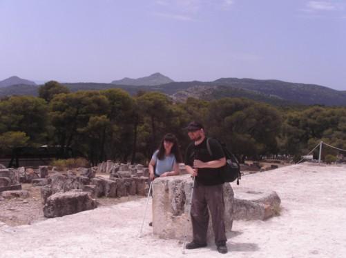 Tony and Tatiana by the east facing entrance ramp near the former sacrificial altar.