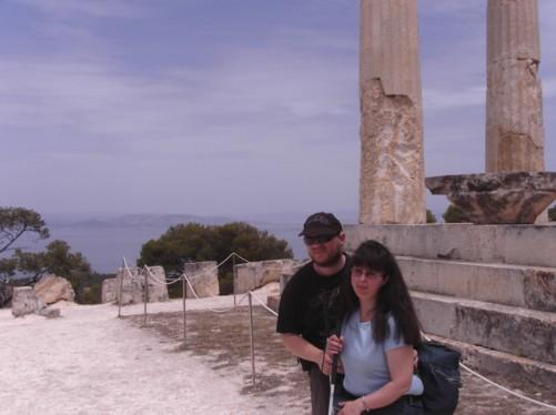 Tony and Tatiana at Athia Temple. Magnificent sea views behind.
