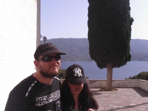 Tony and Tatiana, outside the monastery.