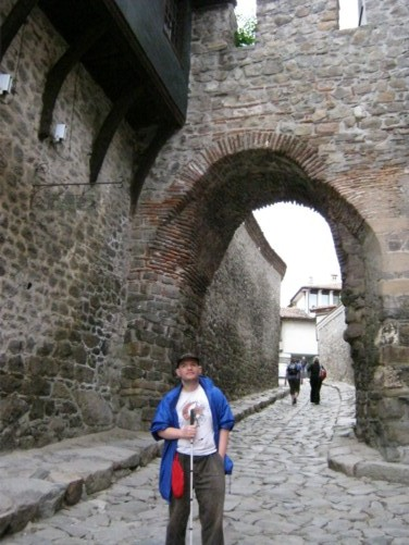 Tony in front of a Roman arch in old town Plovdiv.
