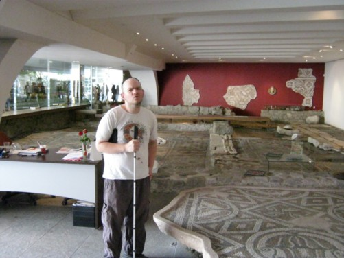 Tony and view of mosaics.
