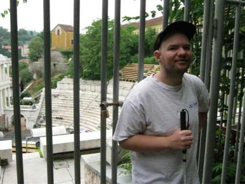 Tony outside Plovdiv's magnificent 2nd-century AD Roman Amphitheatre.