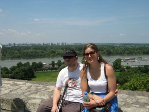 Tony and friend at Kalemegdan park overlooking the Sava river.