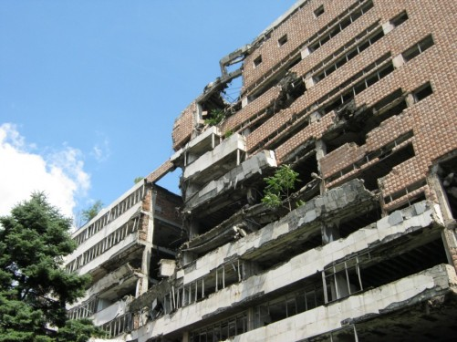 Ruins of the Yugoslav Ministry of Defense building, located near the train station. It was bombed by NATO during the 1999 hostilities over Kosovo. It has been left in its ruined state as a reminder of the conflict.