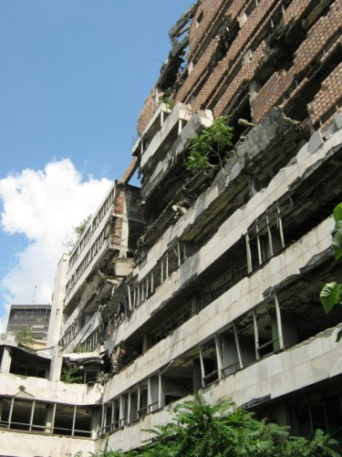 Another view of the bombed Yugoslav Ministry of Defense building.