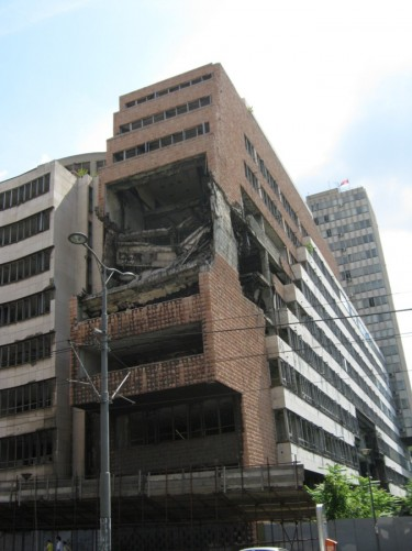 Bombed Yugoslav Ministry of Defense building.