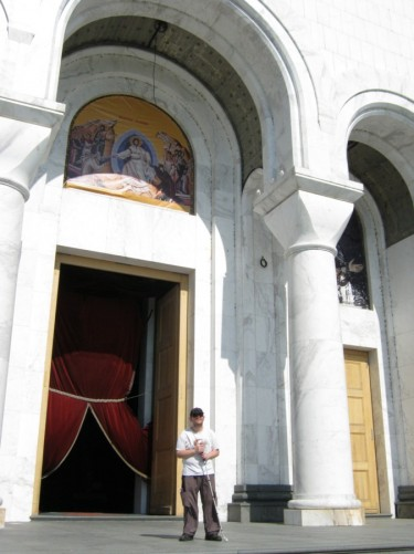 Tony outside the Temple of Saint Sava.