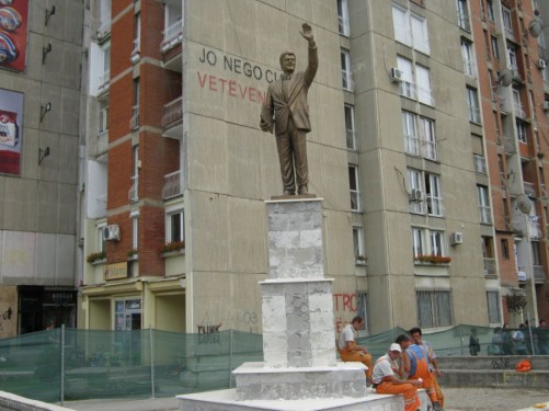 A recently erected 3.5m (11 ft) bronze statue of Bill Clinton in central Pristina.