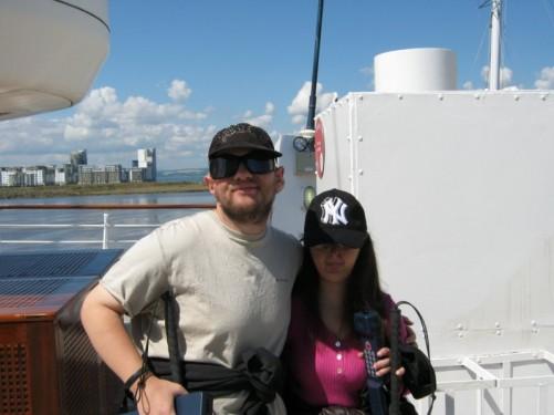 Tony and Tatiana on board the Royal Yacht Britannia. Leith, Edinburgh, 23rd July 2010.