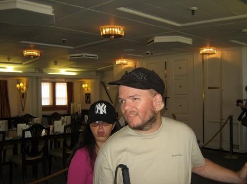 Tony and Tatiana in the dining room, the Royal Yacht Britannia.