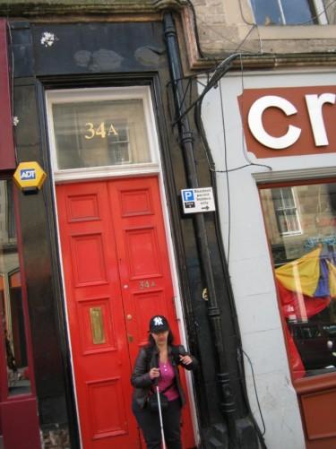 Tatiana outside Edinburgh Backpackers, Cockburn Street. 23rd July 2010.