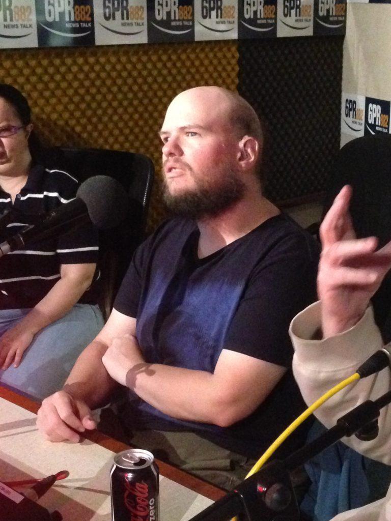 Tony being interviewed in the 6PR studio.