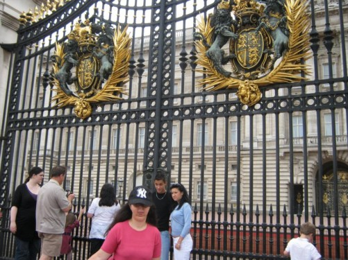 Tatiana outside Buckingham Palace.