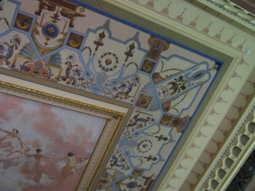 Finely painted ceiling.