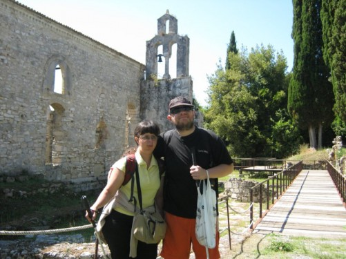 Tatiana and Tony in front of the remains of a Roman church.
