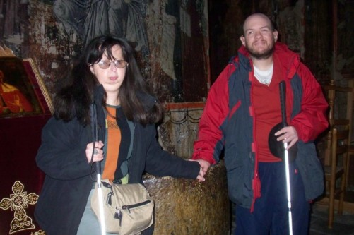 Tatiana and Tony inside the church of the Assumption of Virgin Mary, Kalampaka village.