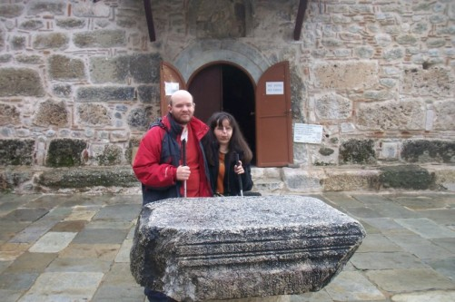Tony and Tatiana outside the church.