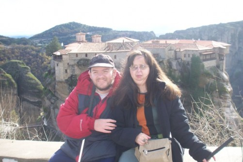 Tony and Tatiana with a view of the Holy Monastery of Varlaam.