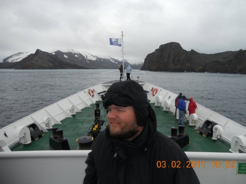 Tony on the deck of the MV Ushuaia. Next stop, Deception Island.