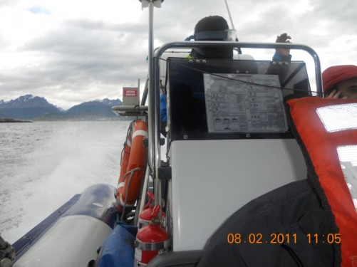The Zodiac out in the Beagle Channel.