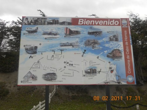 Information board with a map of Puerto Williams.