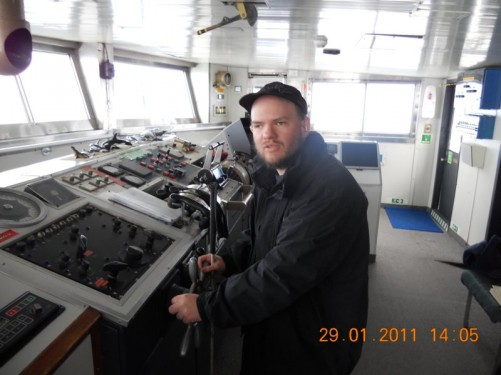 Tony on the bridge of the MV Ushuaia, steering the ship!
