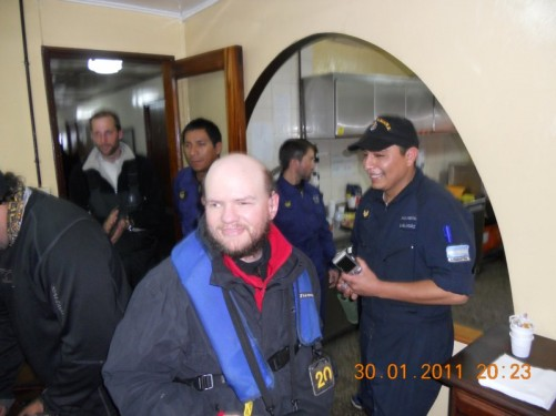 Tony with fellow passengers inside the Cámara station.