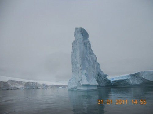 A towering pinnacle of ice seen from the Zodiac.