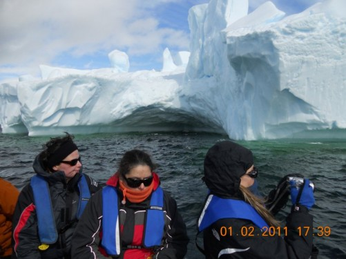 Fellow passengers with Tony in a Zodiac viewing a massive iceberg, Iceberg Alley (Port Charcot).