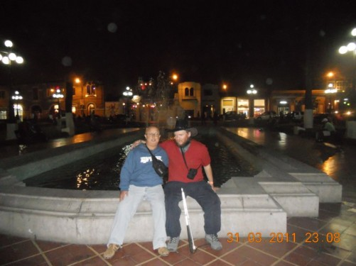 Tony with friend Paul in Baranco, Lima, Peru, 31st March 2011.