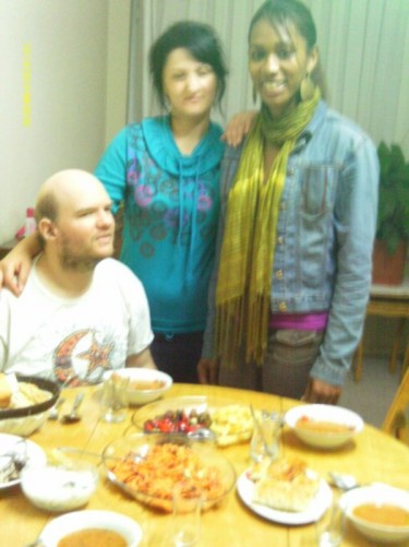 Tony and Tatsinda at a typical Turkish student house in Trabzon. Enjoying local hospitality with the three local girls we met.
