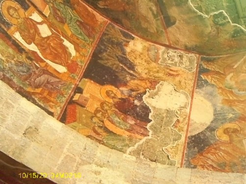 Byzantine painted frescos inside the church.