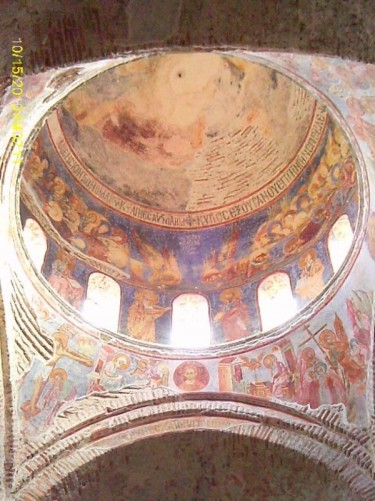 The high central dome of Hagia Sophia church. Painted with frescos.